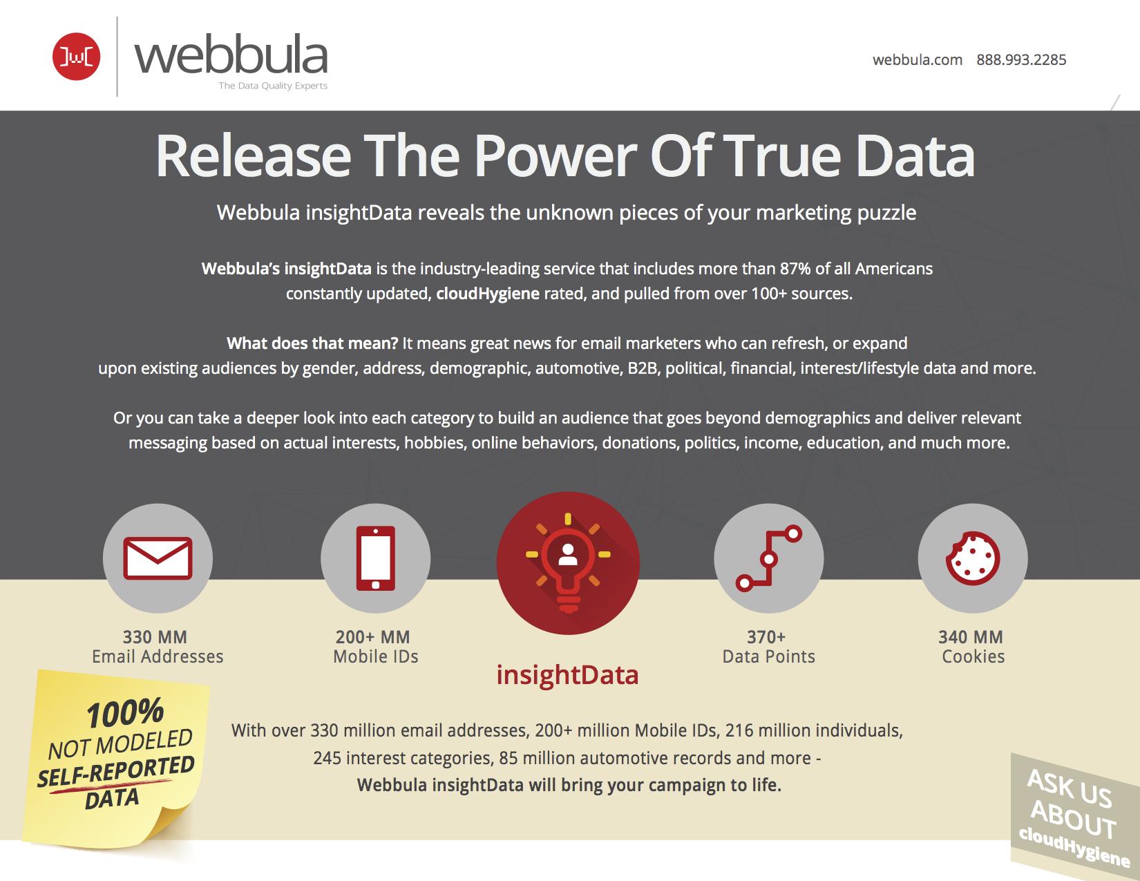 Webbula insightData release the power of true data